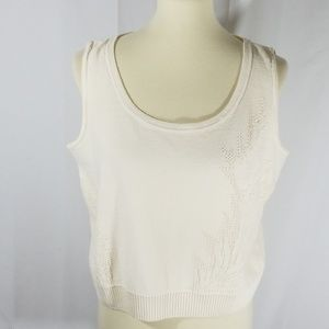 St. John cream pointelle knit shell tank sz L